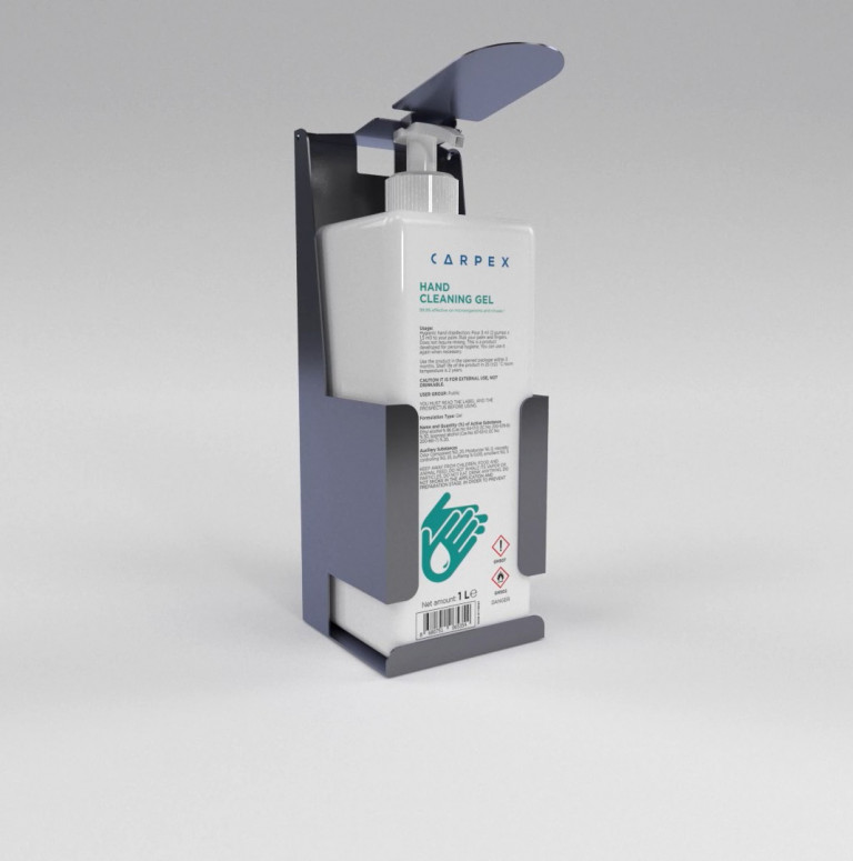CLASSIC MANUAL STAINLESS BODY DISINFECTANT DISPENSER AND 1000 ML GEL DISINFECTANT-A1070x1080
